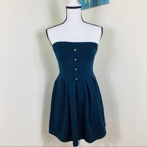 Pins and Needles strapless, navy blue dress.